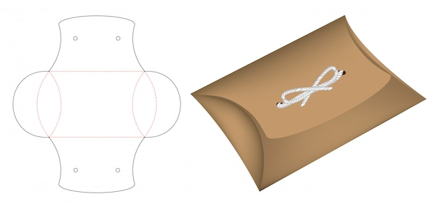Шаблон вырубной коробки для подушки Premium векторы
