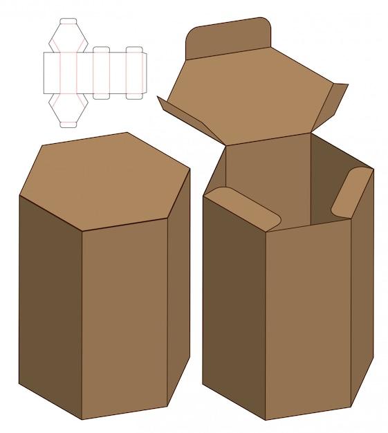 ボックス包装ダイカット印刷用テンプレート Premiumベクター