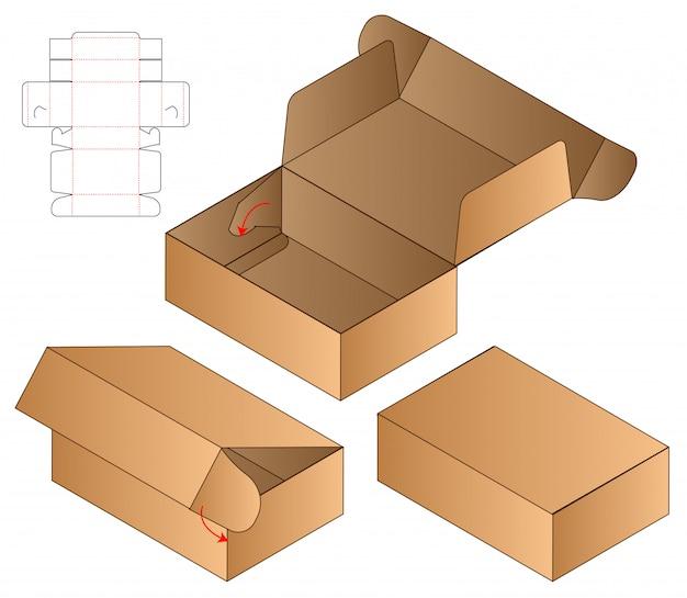 ボックス包装ダイカットテンプレートデザイン。 Premiumベクター