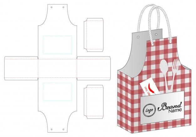 ボックス包装ダイカットテンプレートデザイン Premiumベクター