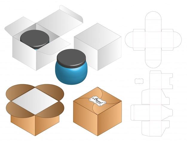 ボックスパッケージダイカットテンプレートデザイン Premiumベクター