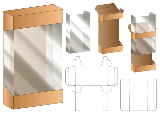 プラスチック製のウィンドウボックス包装ダイラインテンプレート Premiumベクター
