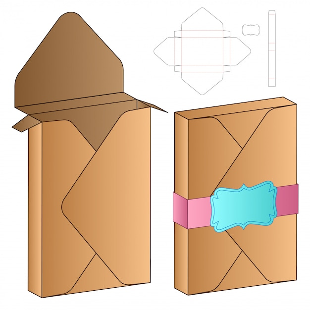 Пакетная упаковка высечки шаблон дизайна Premium векторы