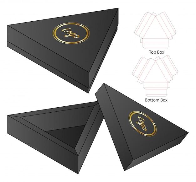 Треугольник коробка упаковки высечки шаблон дизайна. Premium векторы