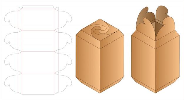 ボックスパッケージダイカットテンプレートデザイン。 Premiumベクター