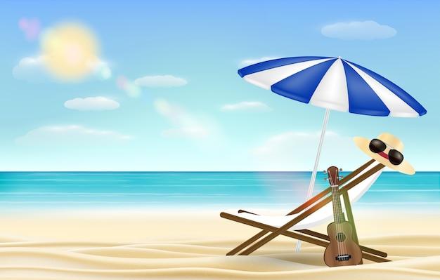 Расслабляющий зонтик на пляже с пляжным фоном Premium векторы