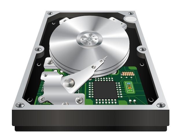 白い背景の内部ハードディスクの内部 Premiumベクター
