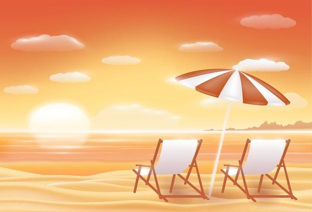 Прекрасный закат морской песок пляж сцены Premium векторы