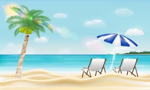 Расслабиться стул на морском песчаном пляже с кокосовым деревом Premium векторы