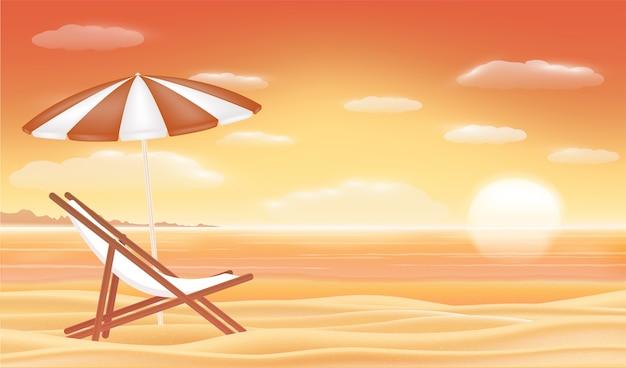 Расслабиться пляж стул зонтик с закатом море пляж фон Premium векторы