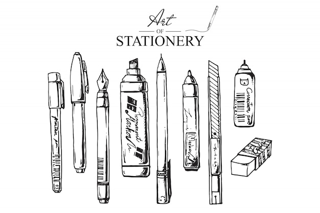Рисованной иллюстрации для канцелярских товаров. набор школьных принадлежностей. вектор Premium векторы