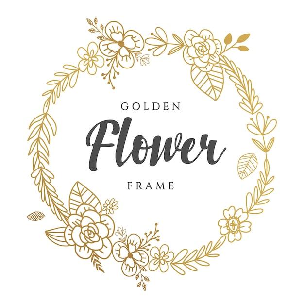 ゴールデン花輪デザイン Premiumベクター
