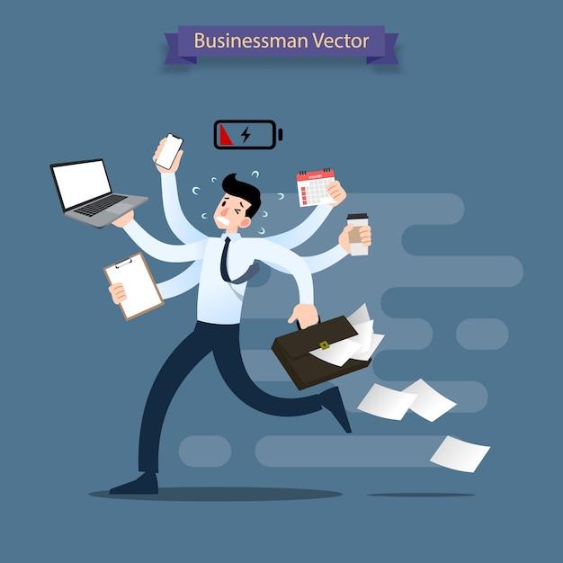 多くの手で忙しいビジネスマンが走っています。 Premiumベクター