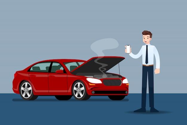 Бизнесмен, держа мобильный телефон и вызов для страхования, когда его автомобиль был сломан. Premium векторы