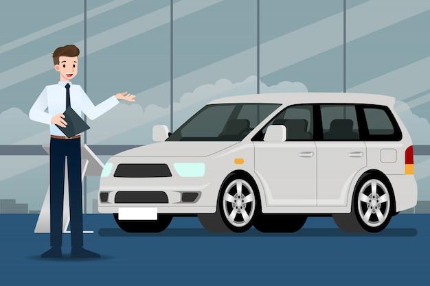 セールスマンが車を紹介します。 Premiumベクター