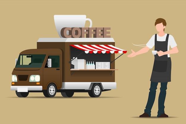フードトラックコーヒー。 Premiumベクター