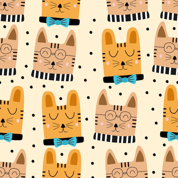 面白い幼稚な猫漫画のシームレスパターン Premiumベクター
