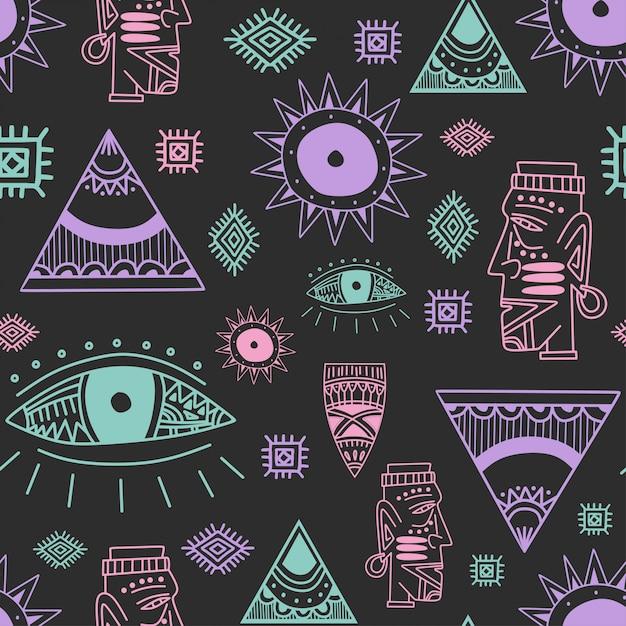 部族芸術アフリカスタイルの描画とビンテージのシームレスパターン Premiumベクター