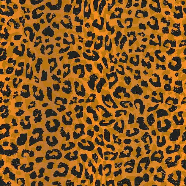 Бесшовный узор леопарда с шкурой реалистичного животного Premium векторы