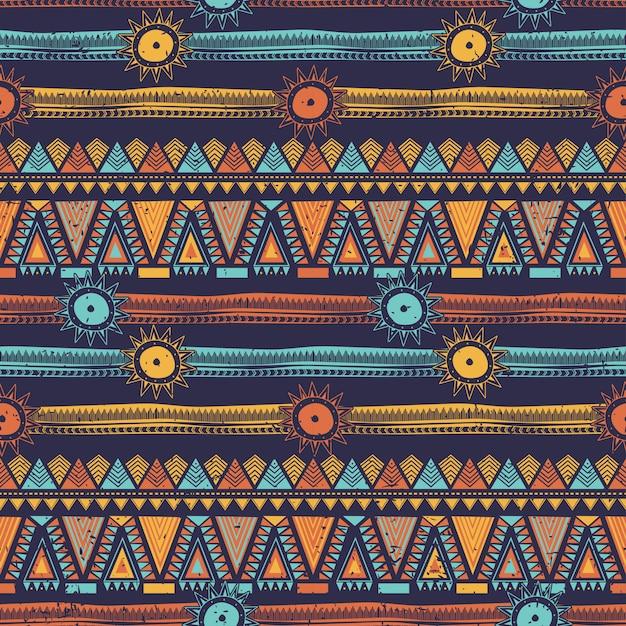 部族のストライプとボヘミアン民族シームレスパターン Premiumベクター