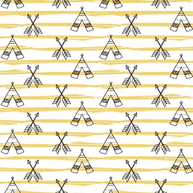 シームレスなボホンナバホ族の妖精のパターン Premiumベクター
