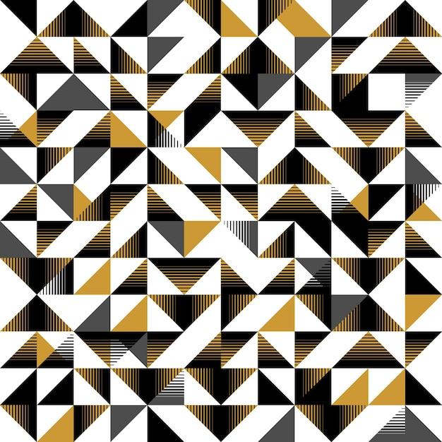 三角形のシームレスなパターン黄色と黒の抽象的な Premiumベクター