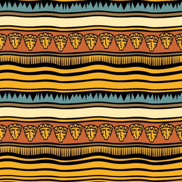 古代のストライプの部族の手描きのパターン Premiumベクター