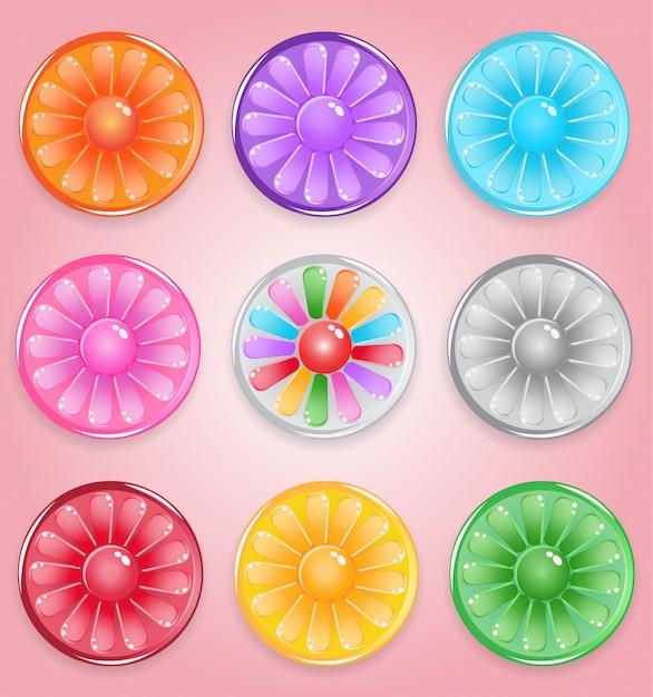 Лимонная круглая застежка в виде конфеты, глянцевое желе Premium векторы