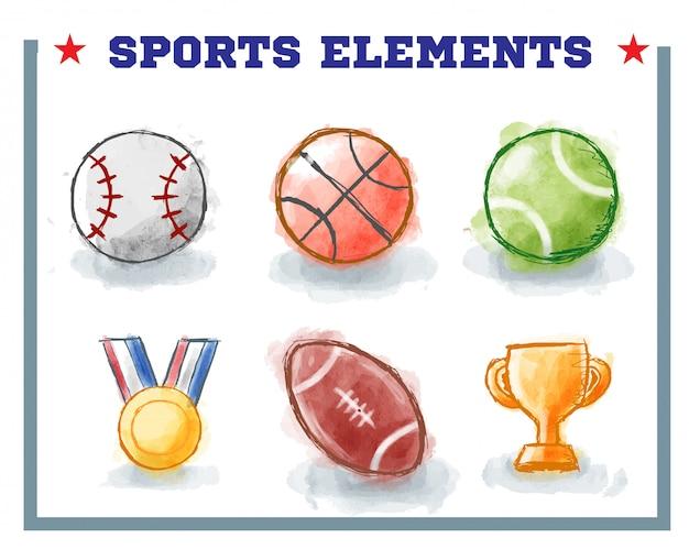 Рисованные спортивные элементы с акварельным стилем Premium векторы