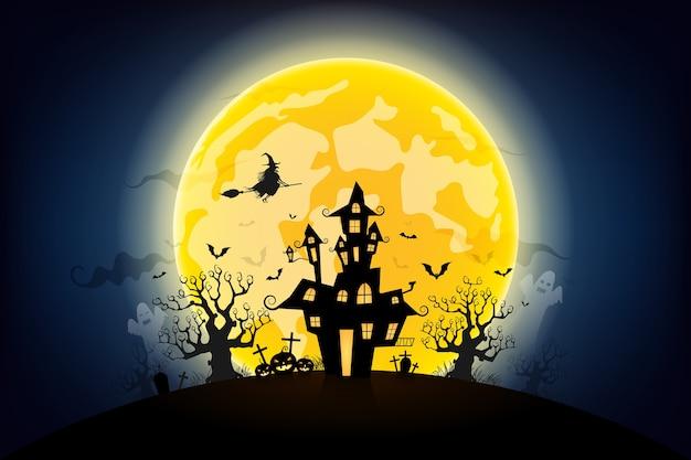 ハロウィンの夜の背景 Premiumベクター