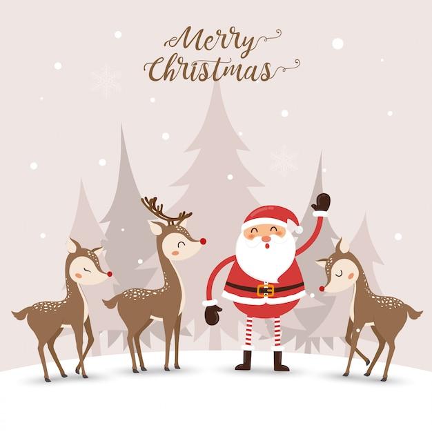 サンタ句と冬のかわいい鹿。 Premiumベクター