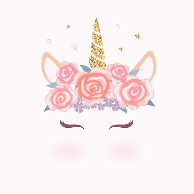 花の冠を持つかわいいユニコーンヘッド。 Premiumベクター
