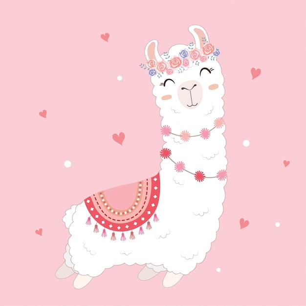 かわいいラマが描かれたバレンタインカード。 Premiumベクター