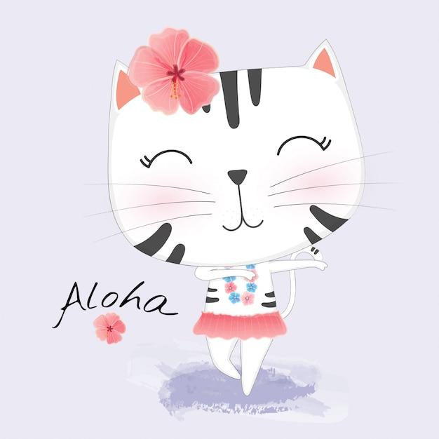 ハワイアン服のかわいい猫がフラを踊ります。 Premiumベクター