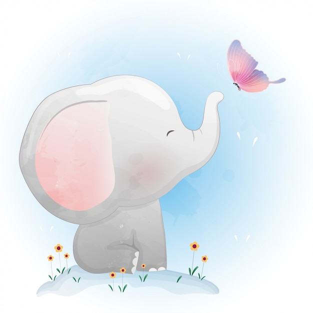 かわいい赤ちゃん象の蝶と遊ぶ Premiumベクター