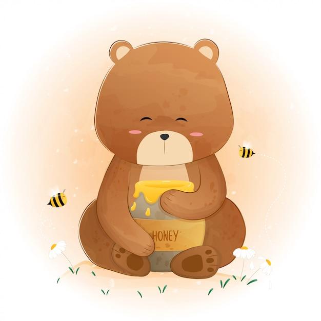 Милый медведь держит банку меда и пчелы летают Premium векторы