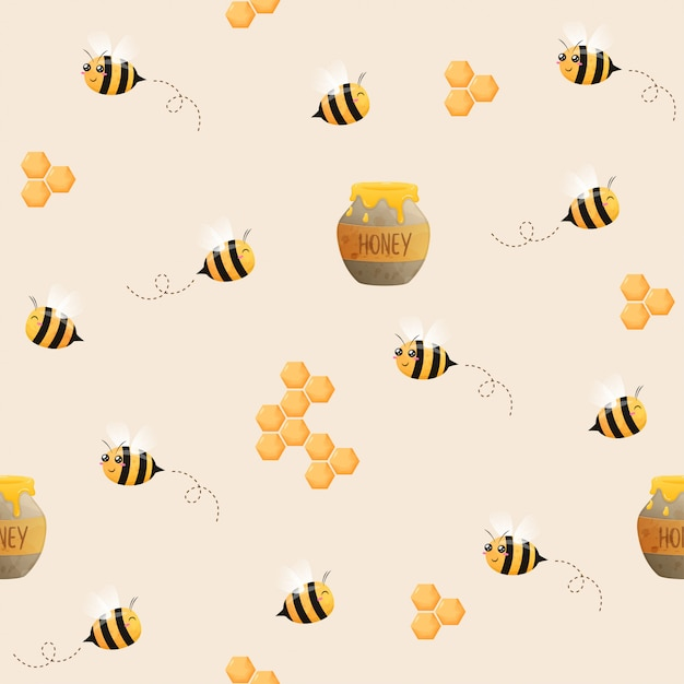 蜂のシームレスなパターン。飛んでいる蜂のイメージ。蜂とハニカム。 Premiumベクター