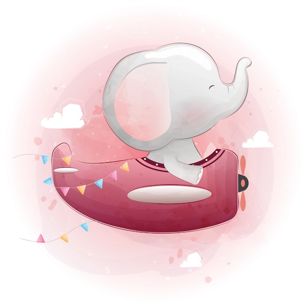 飛行機で飛んでいるかわいい赤ちゃん象。水彩風ベクター Premiumベクター