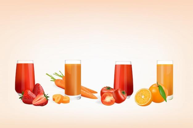 Свежий сок из фруктов и овощей Premium векторы