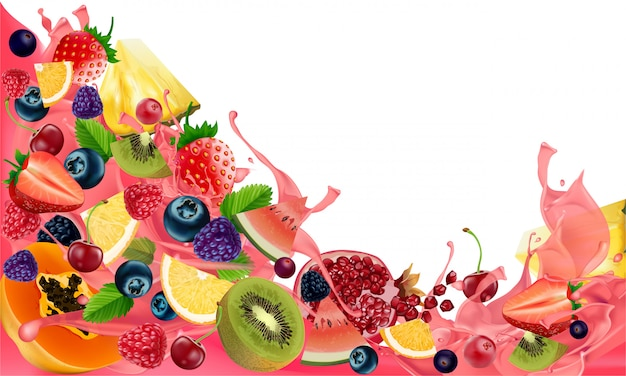 Творческий здоровый микс фруктов для низкокалорийной закуски, изолированных на белом фоне Premium векторы