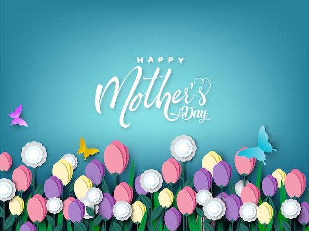 幸せな母の日カード、蝶と花のペーパーカット Premiumベクター
