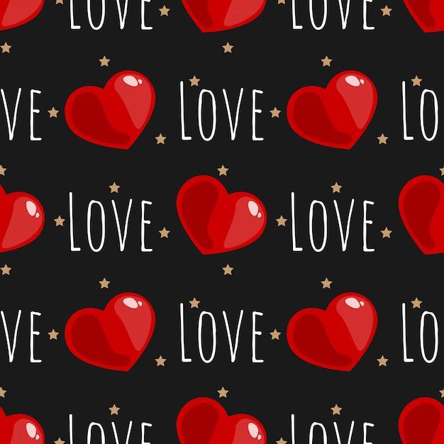 バレンタインデーシームレスパターン。 Premiumベクター
