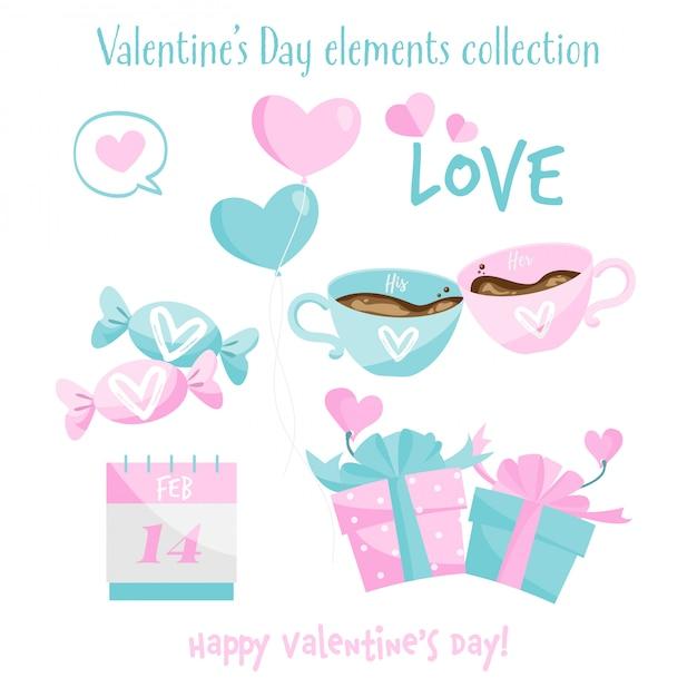 バレンタインの要素のコレクション。 Premiumベクター