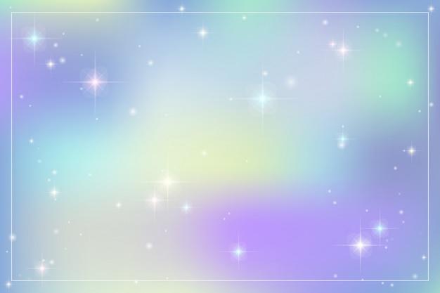 パステルカラーの銀河ファンタジー背景。 Premiumベクター