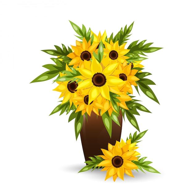 Подсолнух цветы в горшке. Premium векторы