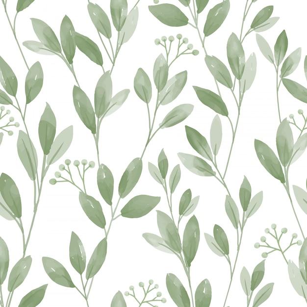 Безшовная картина с милыми листьями на белой предпосылке. Premium векторы