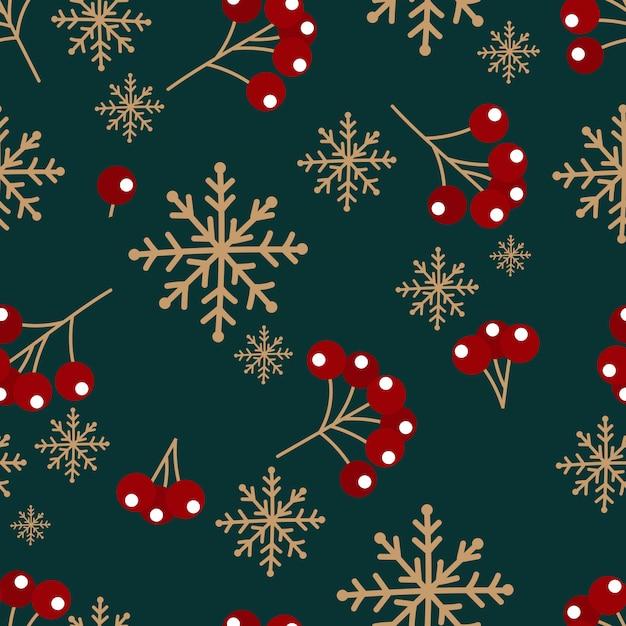雪とベリーのクリスマスのパターン Premiumベクター