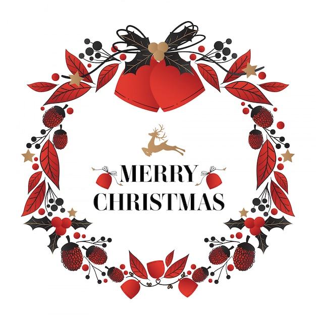 クリスマスの鐘とメリークリスマステキストで飾られたクリスマスリース。 Premiumベクター