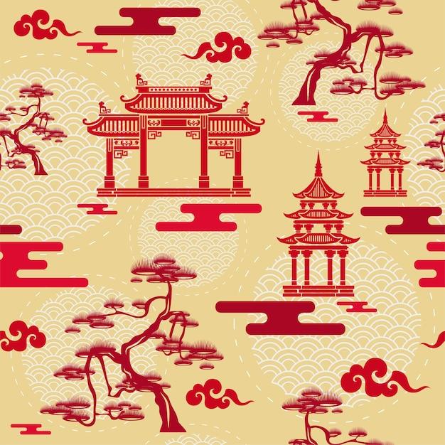 中国のシームレスなパターン。 Premiumベクター