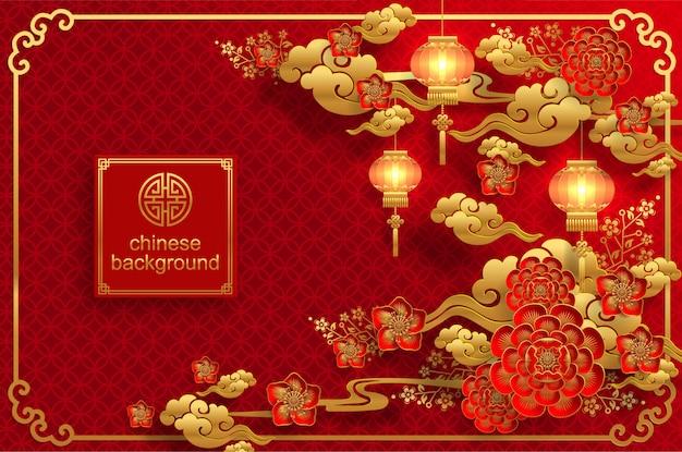 Китайский восточный свадебный фон Premium векторы